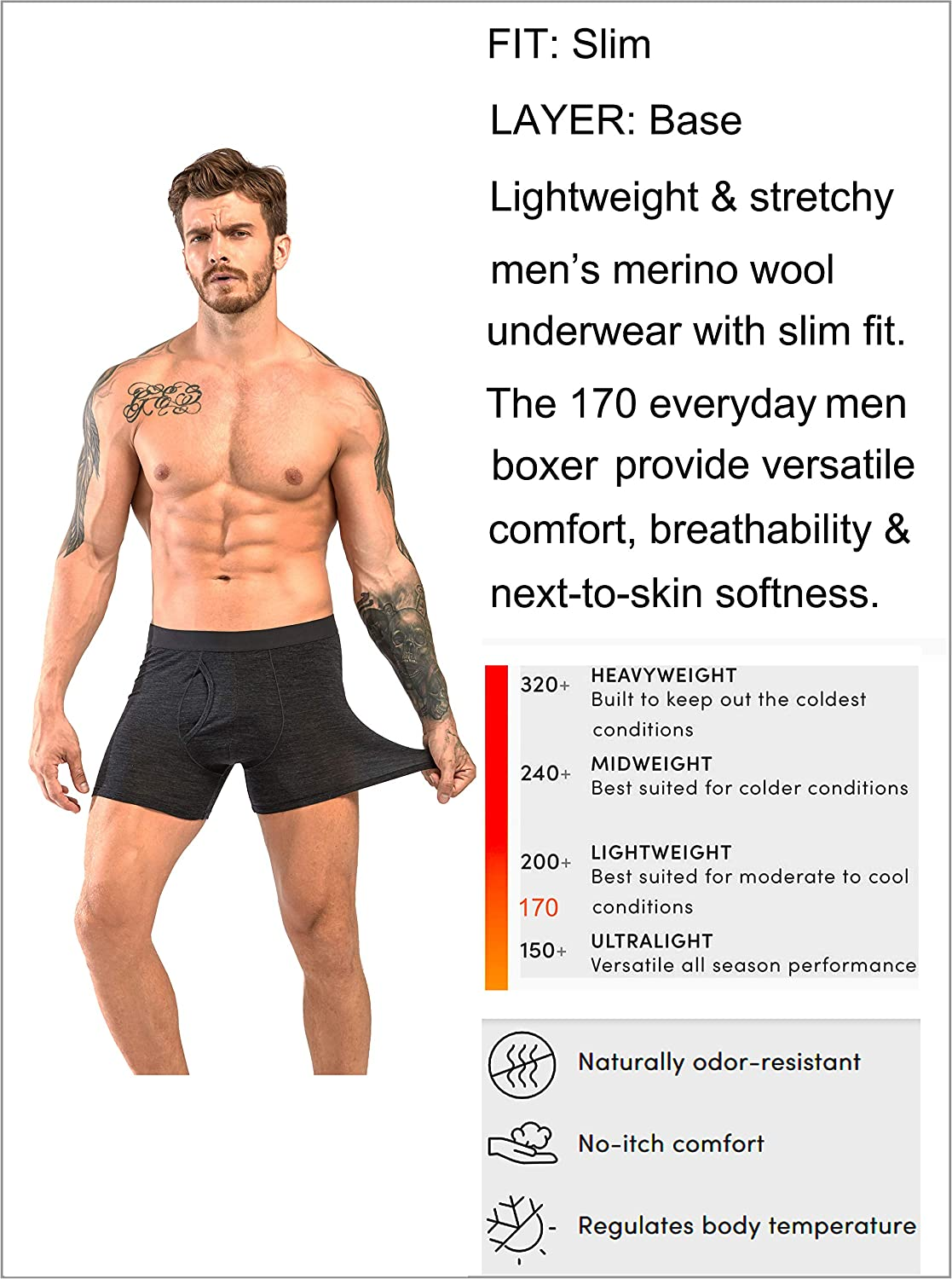 Eizniz Mens Performance Merino Wool Boxers Briefs Durable Everyday Base Layer Bottom with Fly