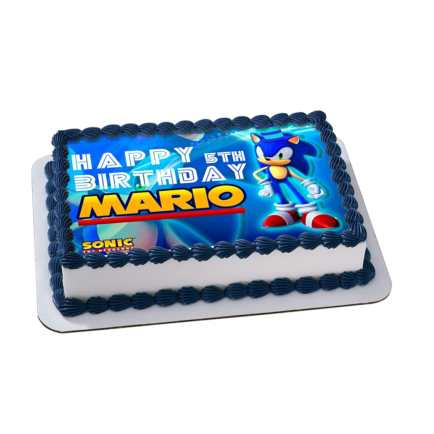 Sonic The Hedgehog Birthday Cake Personalized Cake Toppers Edible