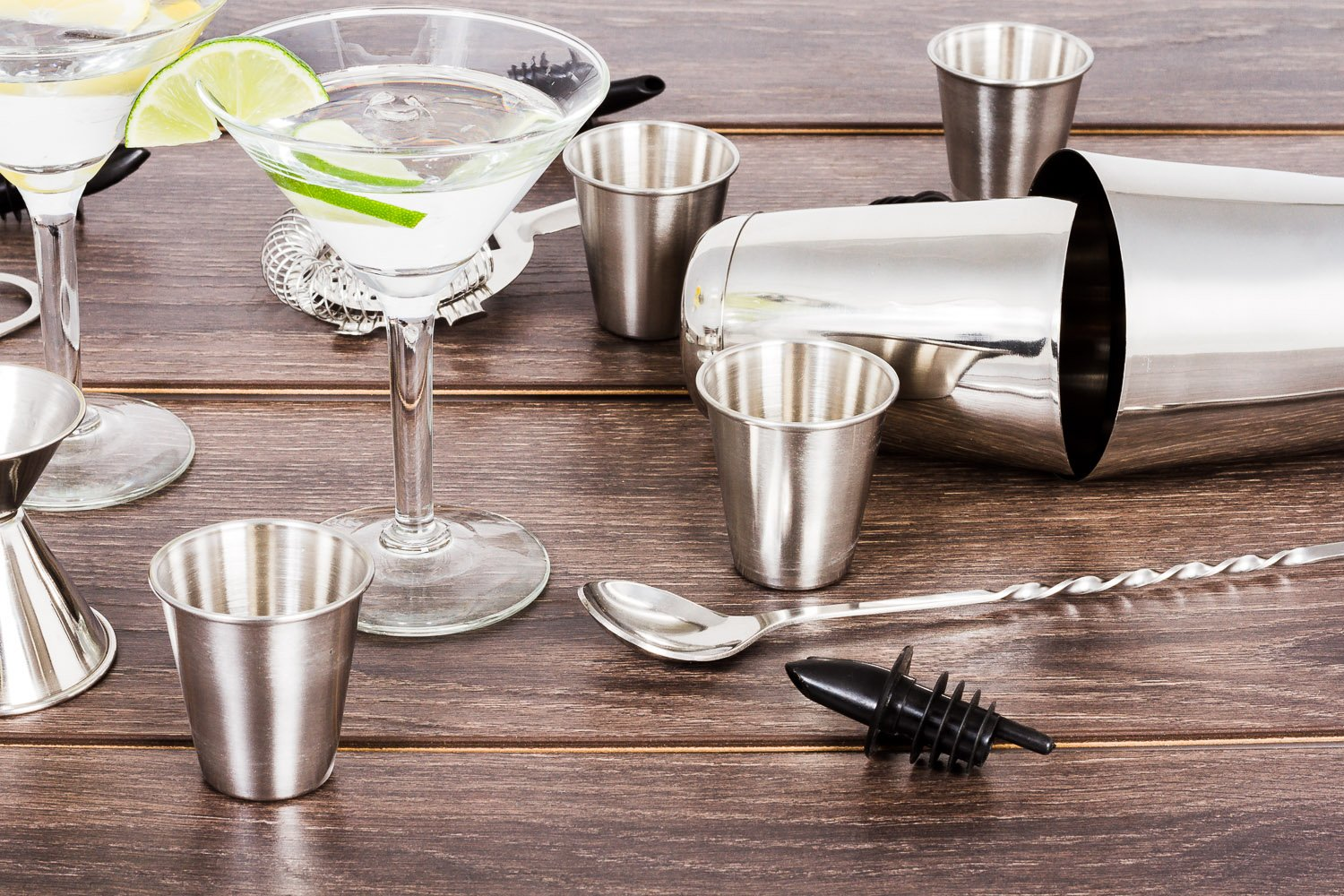 16 Pcs Cocktail Shaker Home Bar Set – Complete Bartender Kit with Double Bar Jigger, Pour Spouts, Drink Shaker, Hawthorne Strainer, Bar Spoon, Bottle Opener and Tin Shot Glasses by Lexi Home (Image #8)