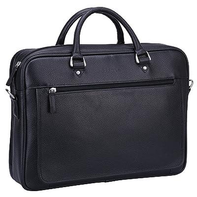 """Banuce Soft Black Leather Briefcase for Men Bussiness Executive 14"""" Laptop Tote Messenger Shoulder Bag"""