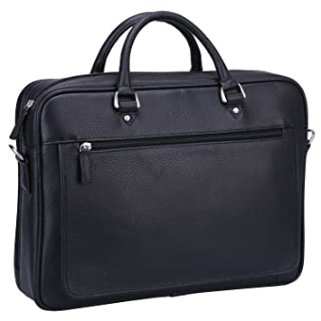 d58f6576e262 Banuce Soft Black Leather Briefcase for Men Bussiness Executive 14