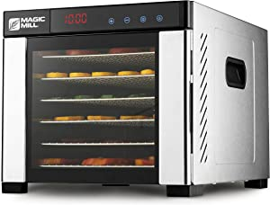 Magic Mill Commercial Food Dehydrator Machine | Easy Setup, Digital Adjustable Timer and Temperature Control | Dryer for Jerky, Herb, Meat, Beef, Fruit and To Dry Vegetables | Over Heat Protection | 6 Stainless Steel Trays (Renewed)