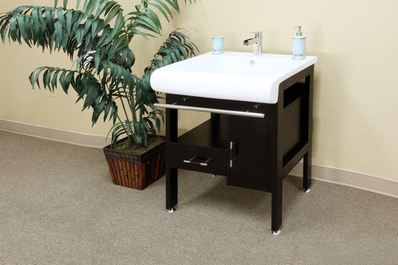 Bellaterra Home 202117B 28-Inch Single Sink Vanity, Wood, Dark Espresso