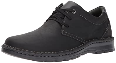 CLARKS Men's Vanek Plain Shoe, Black Leather, 7 Medium US