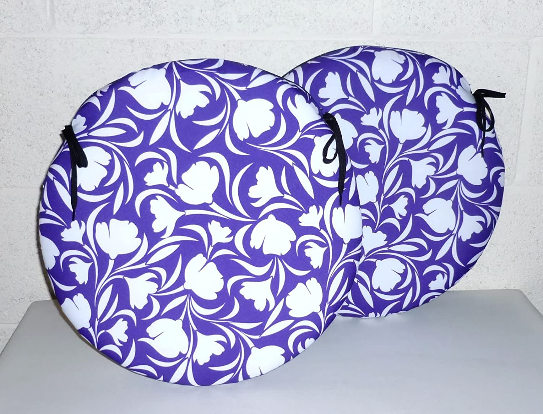 Seat Pads for Home /& Garden Furniture 2 x Zippy 15 Round Cushions Waterproof Fabric Purple Tulip