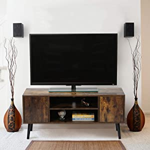 GOOD & GRACIOUS Mid Century Modern TV Stand for Up to 43 Inch TV, Small Industrial Style Entertainment Center, Rustic Wood Low TV Stand for Bedroom & Living Room, with Cabinet