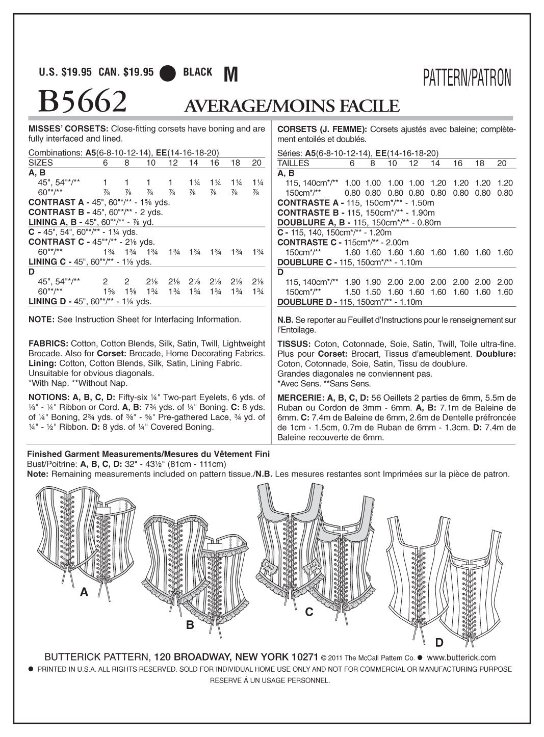 Butterick Patterns B5662 - Patrón para corset (tamaño A5, talla 6, 8 ...