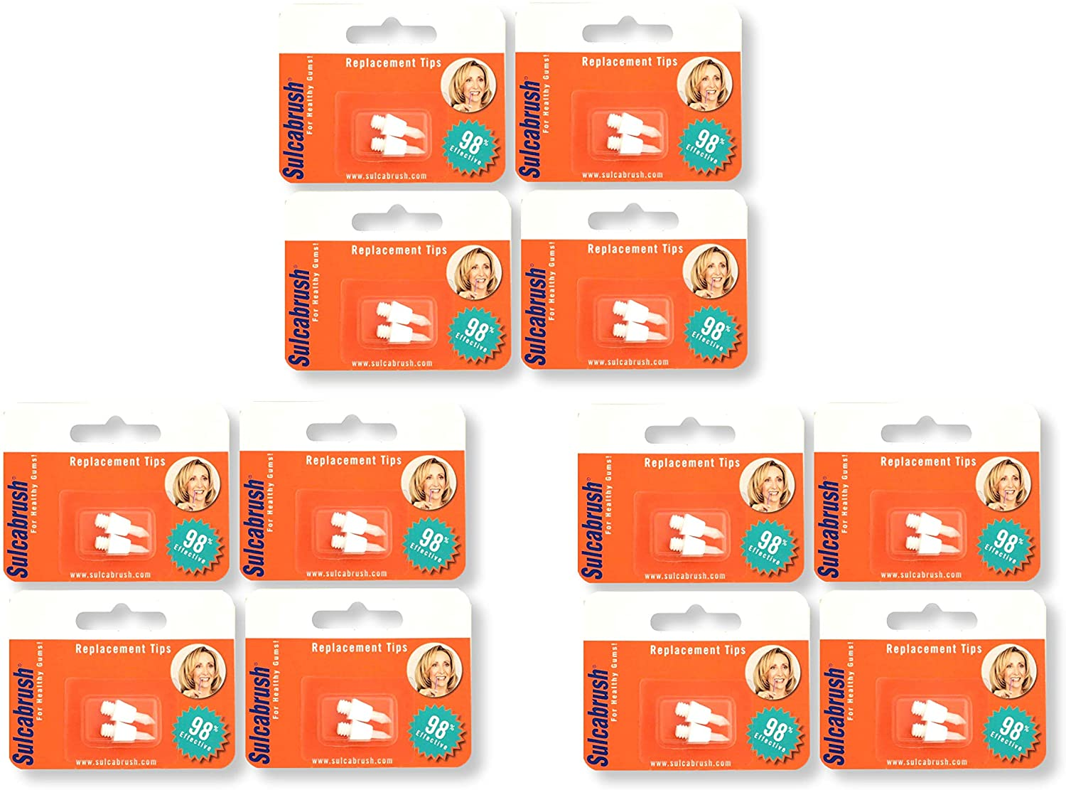 Sulcabrush Replacement Tips - Pack Of 2 (12 Pack)