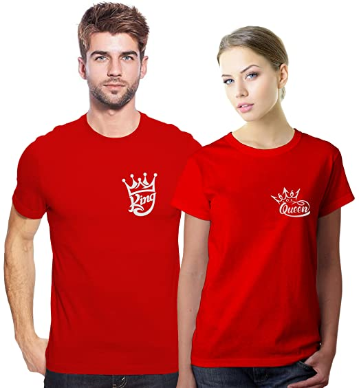 9732756a CHRYSOLITE Valentine T Shirt/Couple T Shirt King & Queen Red Colour Unisex T  Shirt