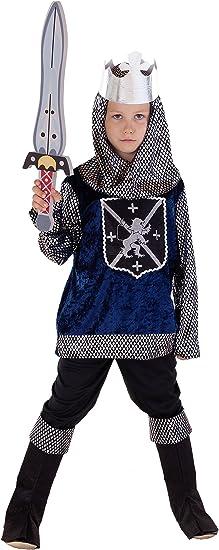 Disfraz infantil de caballero medieval azul, negro y plateado ...