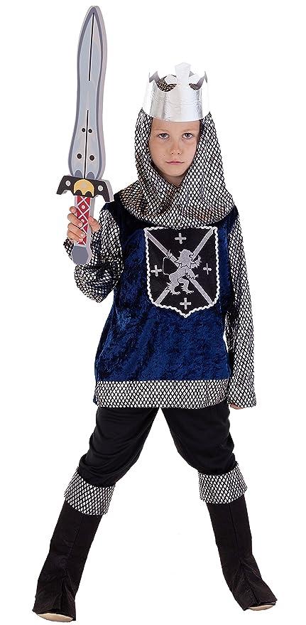 Disfraz infantil de caballero medieval azul, negro y ...