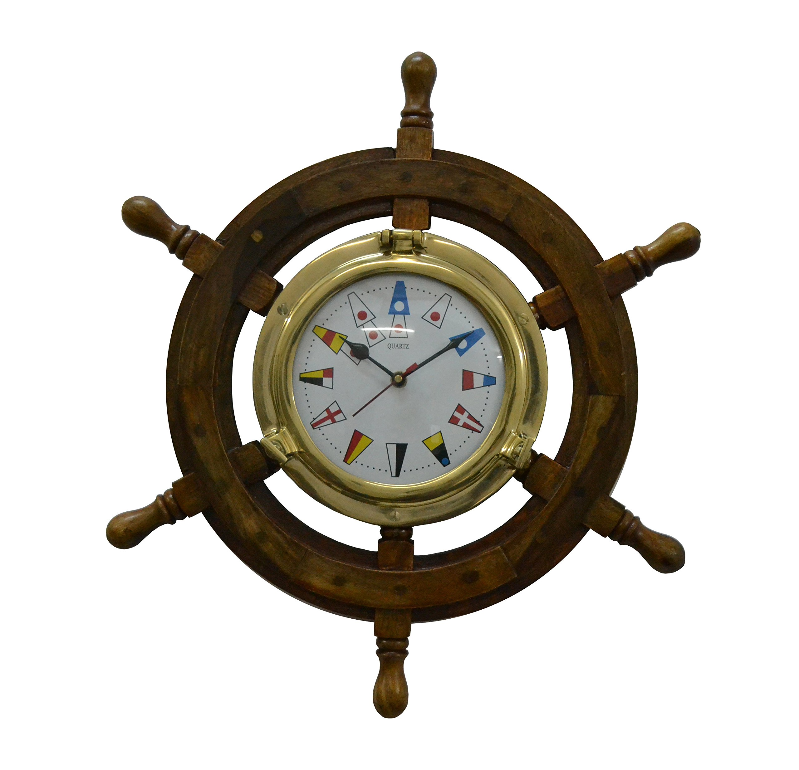 Brass Nautical Solid Wood Brass Ship Wheel Wall Clock Porthole Nautical Decor Shipwheel Boat DecorationWooden Nautical Shipwheel with Clock - Maritime Pirate Decor