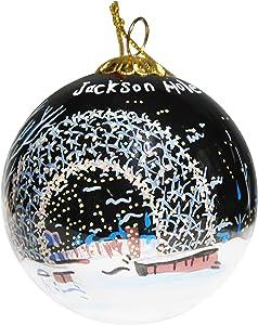 Art Studio Company Hand Painted Glass Christmas Ornament - Arch Jackson Hole Wyoming Night