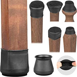 Chair Leg Floor Protectors, Chair Leg Capsfor All Shape Chairs Legs, Silicone Furniture Table Chair Leg Covers for Hardwood Floors, Free Moving for Chair Feets [Upgraded],16Pack,Black