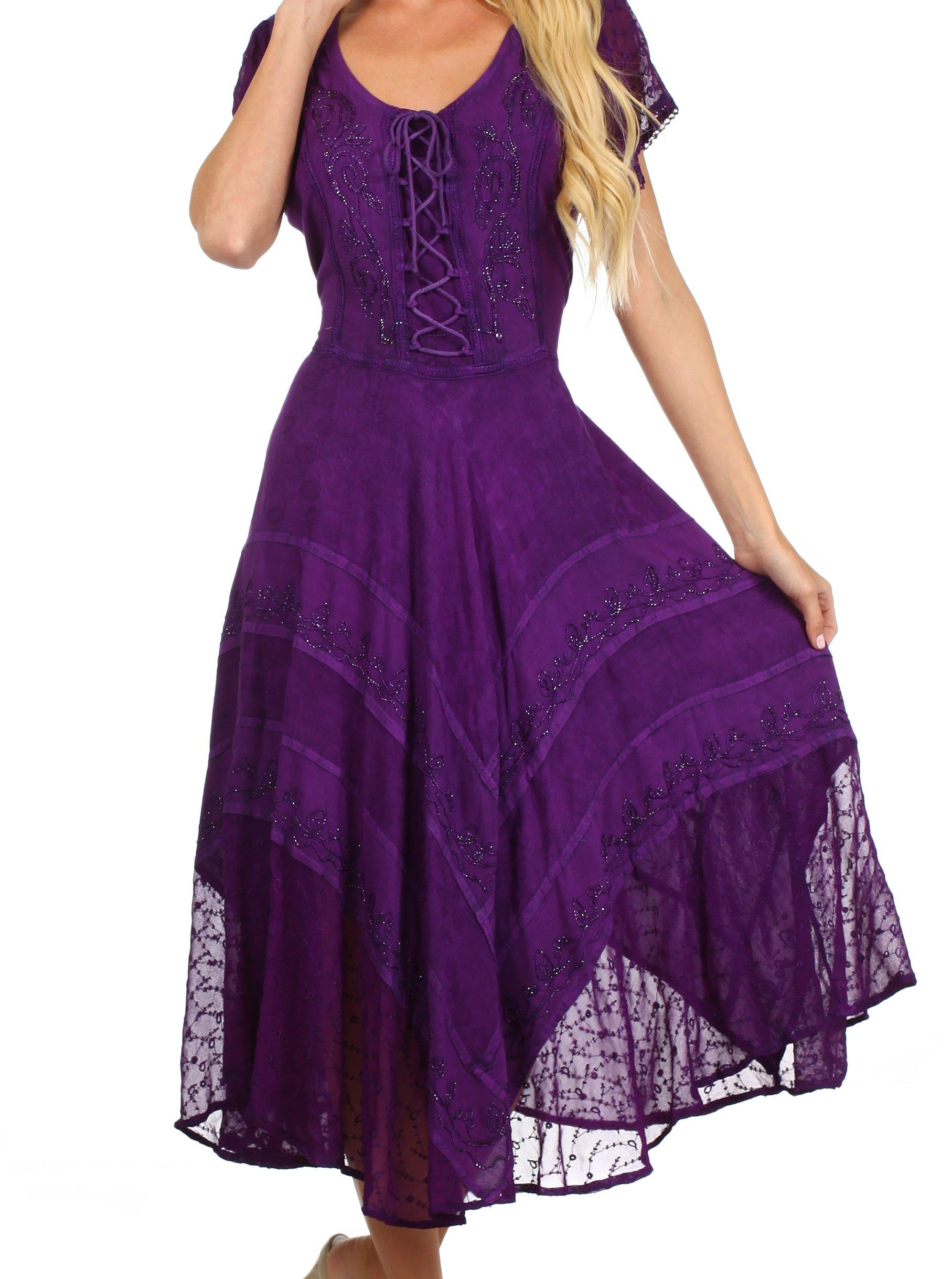 Sakkas 1322 Marigold Embroidered Fairy Dress - Purple - S/M