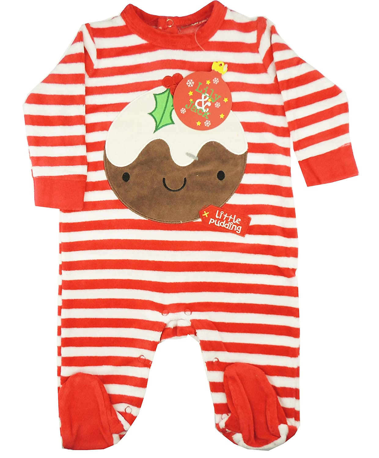 Festive Christmas Winter Baby Girls Boys Romper Sleeper All in One White Red Little Pudding Outfit (0-3 Months)