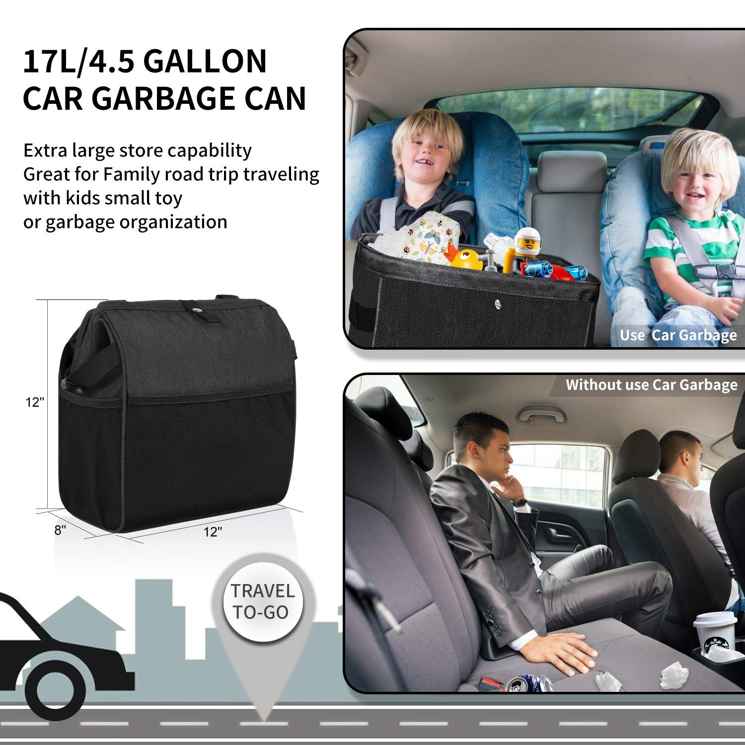 Car Trash Can Automotive Garbage Bin Car Trash Bag Collapsible Vehicle Travel Trash Container Car Garbage Organizer Car Garbage Holder with Waterproof Lining and Steel Frame Closure Car Accessories for Truck F150 SUV Jeep Pickup RV Trailer