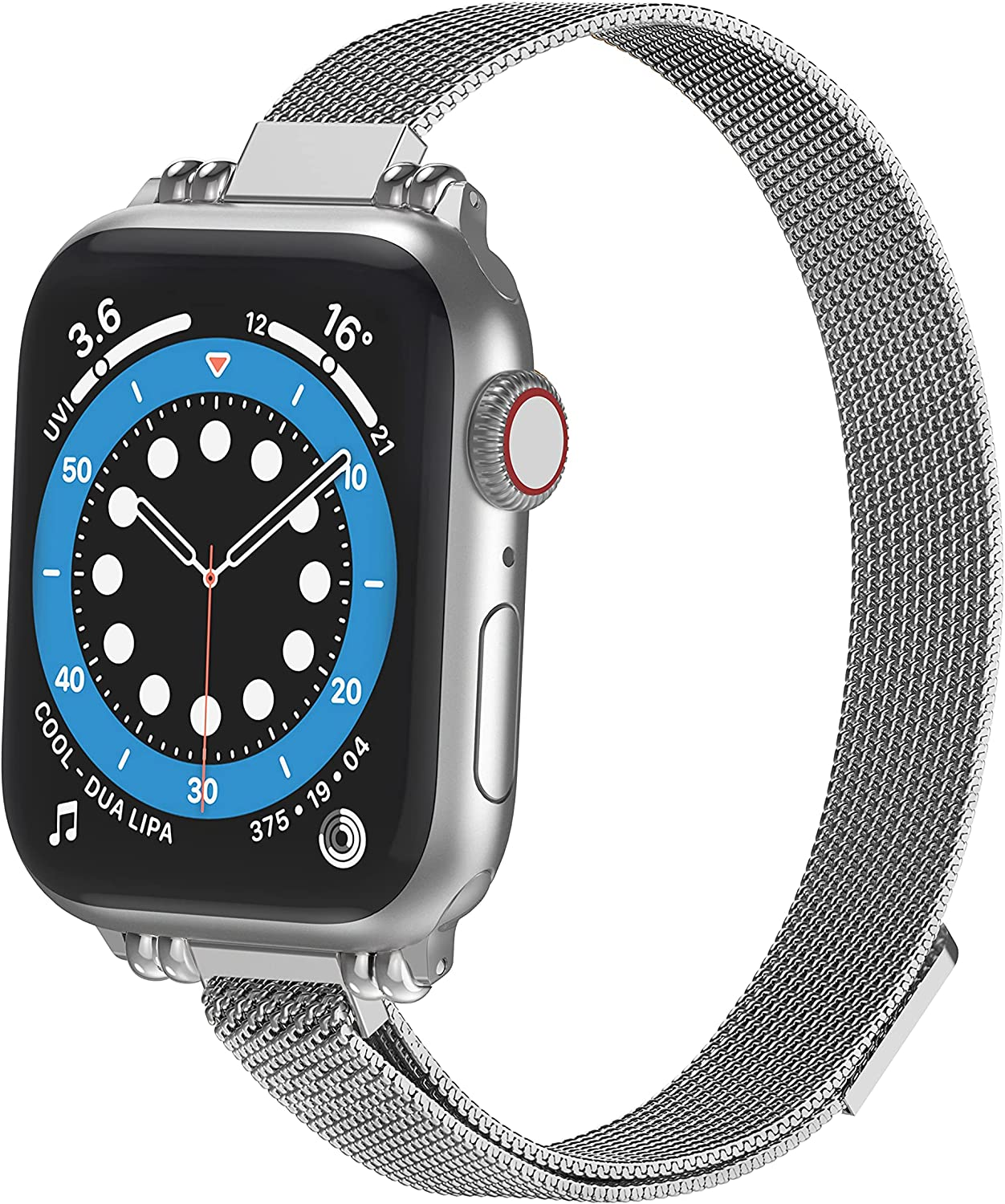 Latband Slim Metal Bands Compatible with Apple Watch Band 38mm 40mm 42mm 44mm,Thin Stainless Steel Mesh Strap Replacement Women Wristband for iWatch SE Series 6/5/4/3/2/1