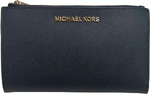 Michael Kors Jet Set Travel Double Zip Saffiano Leather Wristlet (Navy)