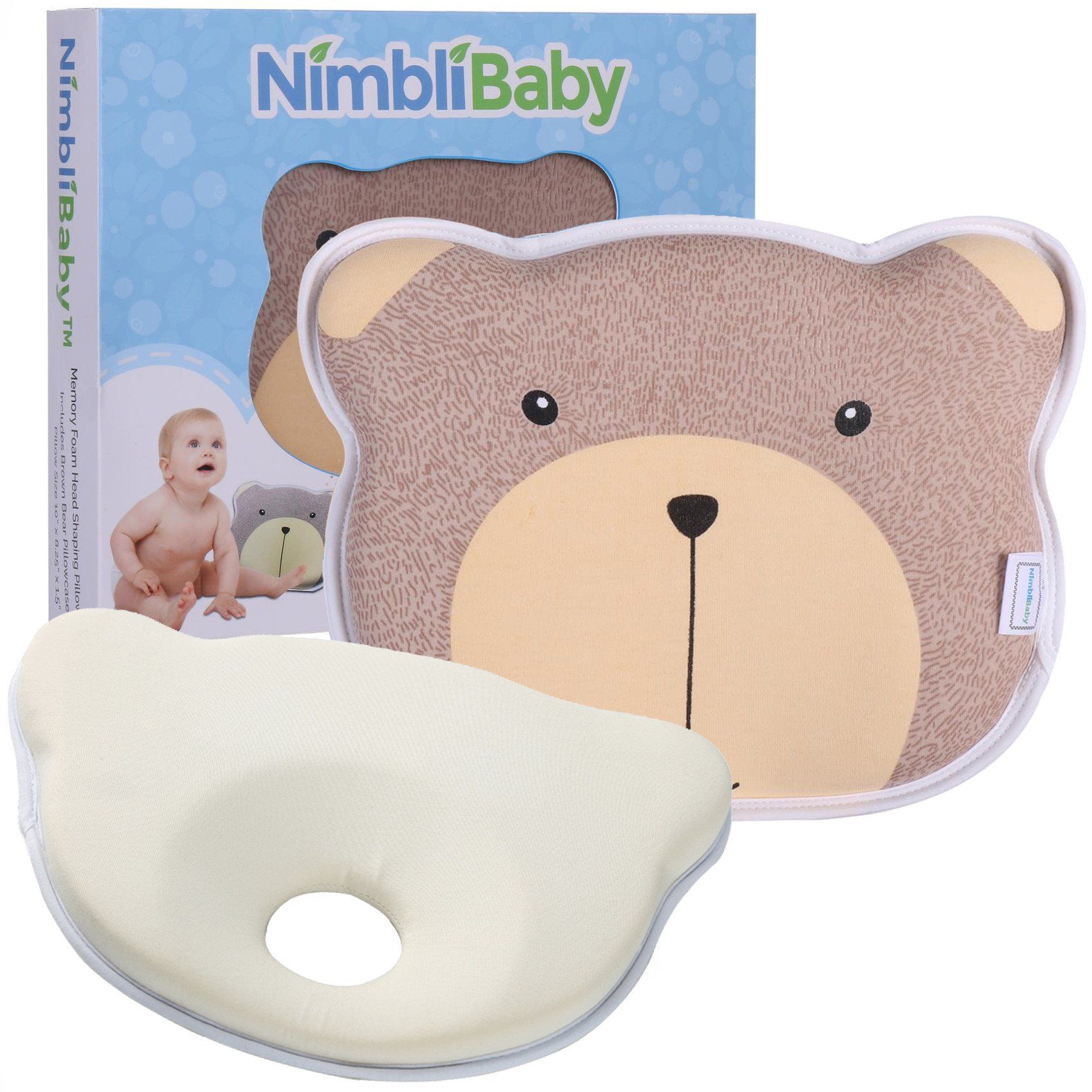 Baby Head Shaping Pillow - Memory Foam flat head baby pillow - baby registry must have gift