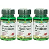 Nature's Bounty Mega Chromium Picolinate 800 Mcg, 150 Tablets (3 X 50 Count Bottles)