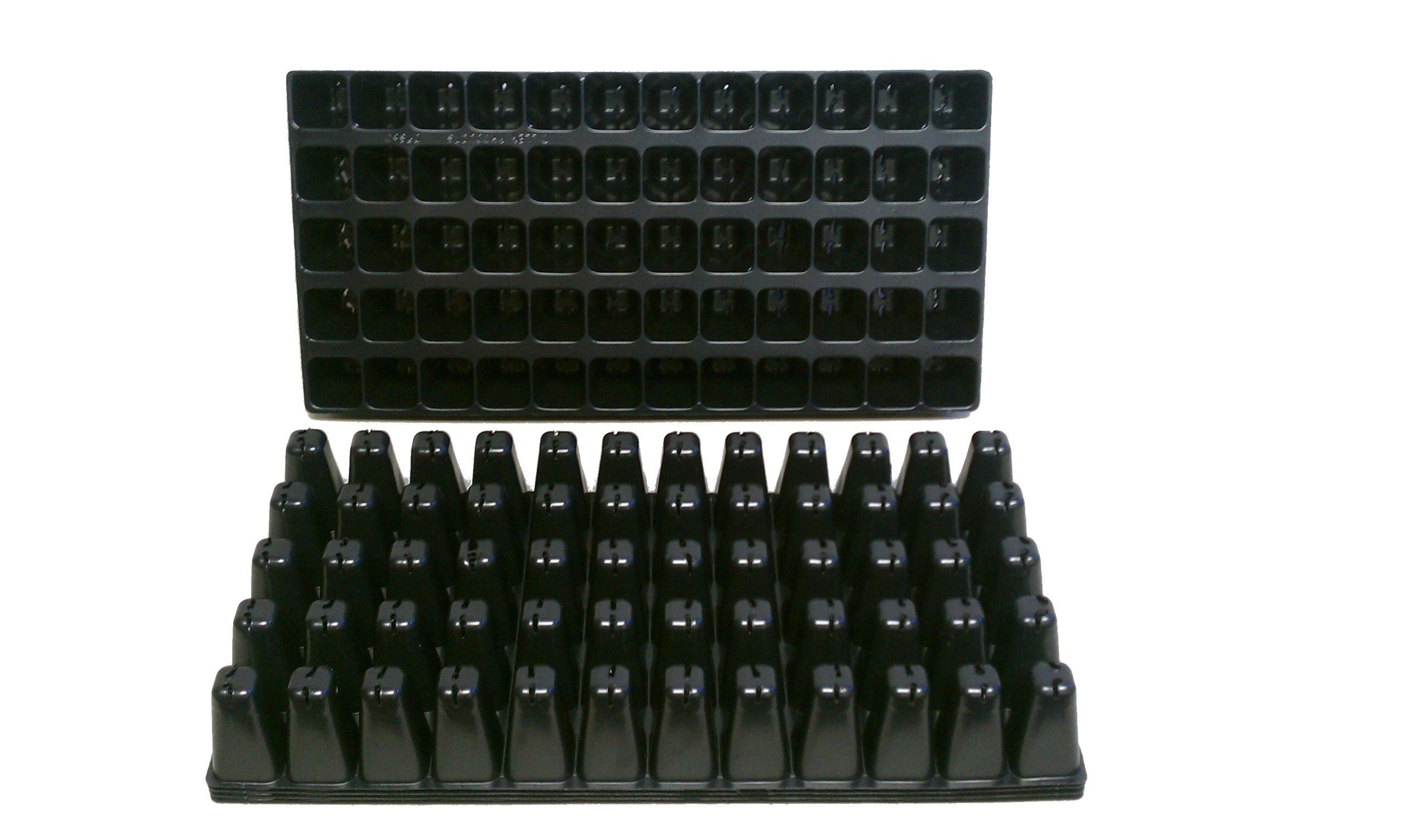 10 Plastic Seed Starting Trays - Each Tray Has 60 Cells ~ Cells Are 1 5/8'' Square X 2 6/8'' Deep. Great Propagation Trays
