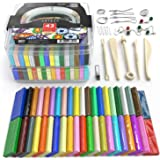 Arteza Polymer Clay Starter Kit, 42 Colors of Oven-Bake, Baking Clay Blocks, 5 Sculpting Tools, and 30 Jewelry Accessories