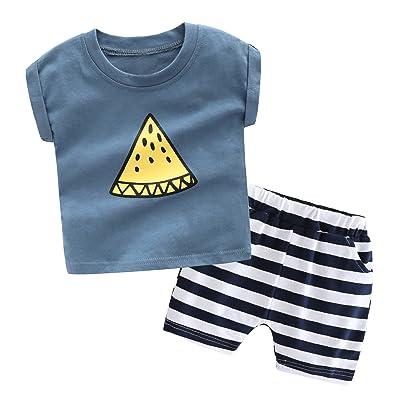 LLIOFUS Little Boys Fruit Print 90% Cotton Soft Breathable 2ps Clothing Sets