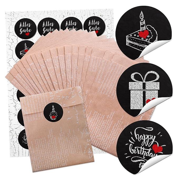 24 marrón bolsas de plano de papel decorado con trazos ...