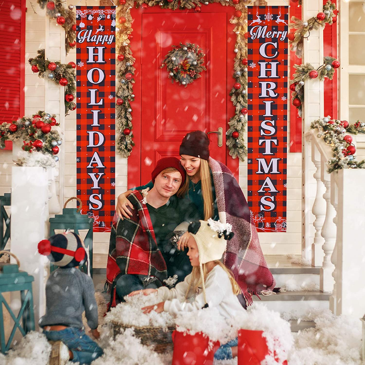 Christmas Porch Sign Hanging Xmas Decorations for Indoor Outdoor Holiday Front Door Home Wall Apartment Party Decorations Joyjoz Christmas Banner Christmas Decorations