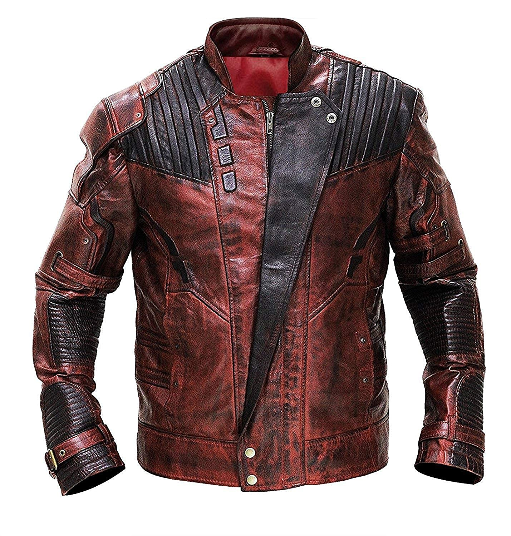eee484b1c Spazeup Star Galaxy 2 Distressed Maroon Leather Jacket