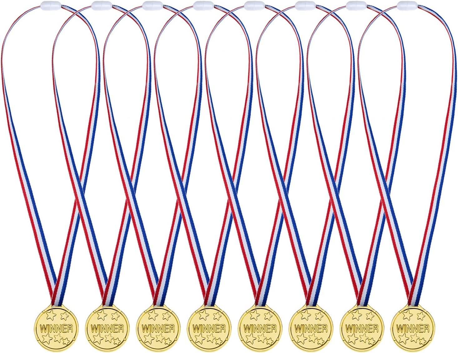 Gold Plastic Winners Medals Sports Day Party Bag Prize Awards Kids Toys