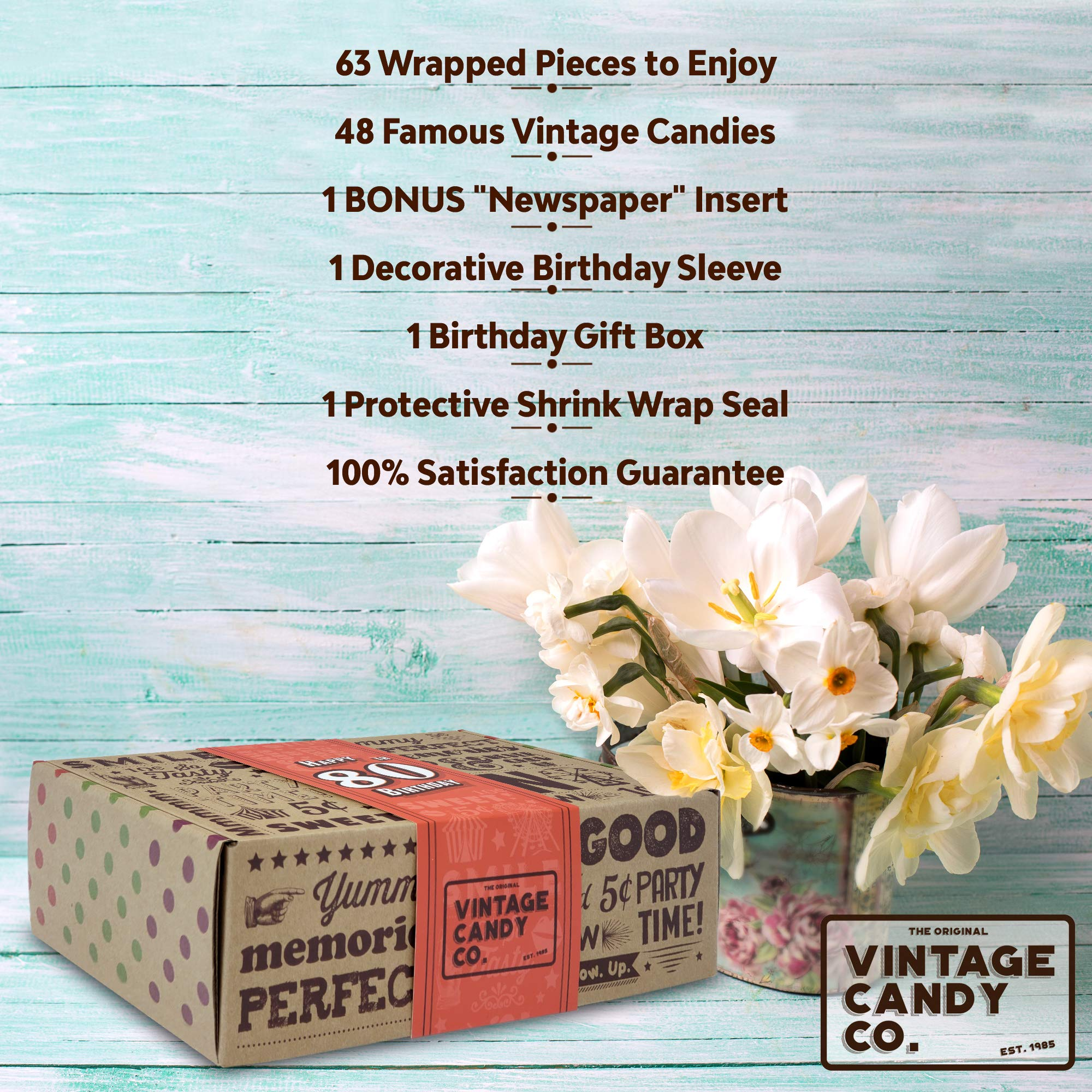 VINTAGE CANDY CO. 80TH BIRTHDAY RETRO CANDY GIFT BOX - 1939 Decade Nostalgic Childhood Candies - Fun Gag Gift Basket for Milestone EIGHTIETH Birthday - PERFECT For Man Or Woman Turning 80 Years Old by Vintage Candy Co. (Image #3)