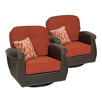 Breckenridge Swivel Rocker 2 Piece Patio Furniture Set (Brick Red) By La Z