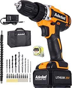 Cordless Drill Set - Adedad 20V Drill with 300 in-lbs Torque, Max 1550 RPM Variable Speed, Built-in LED | Power Drill/driver for Home Improvement