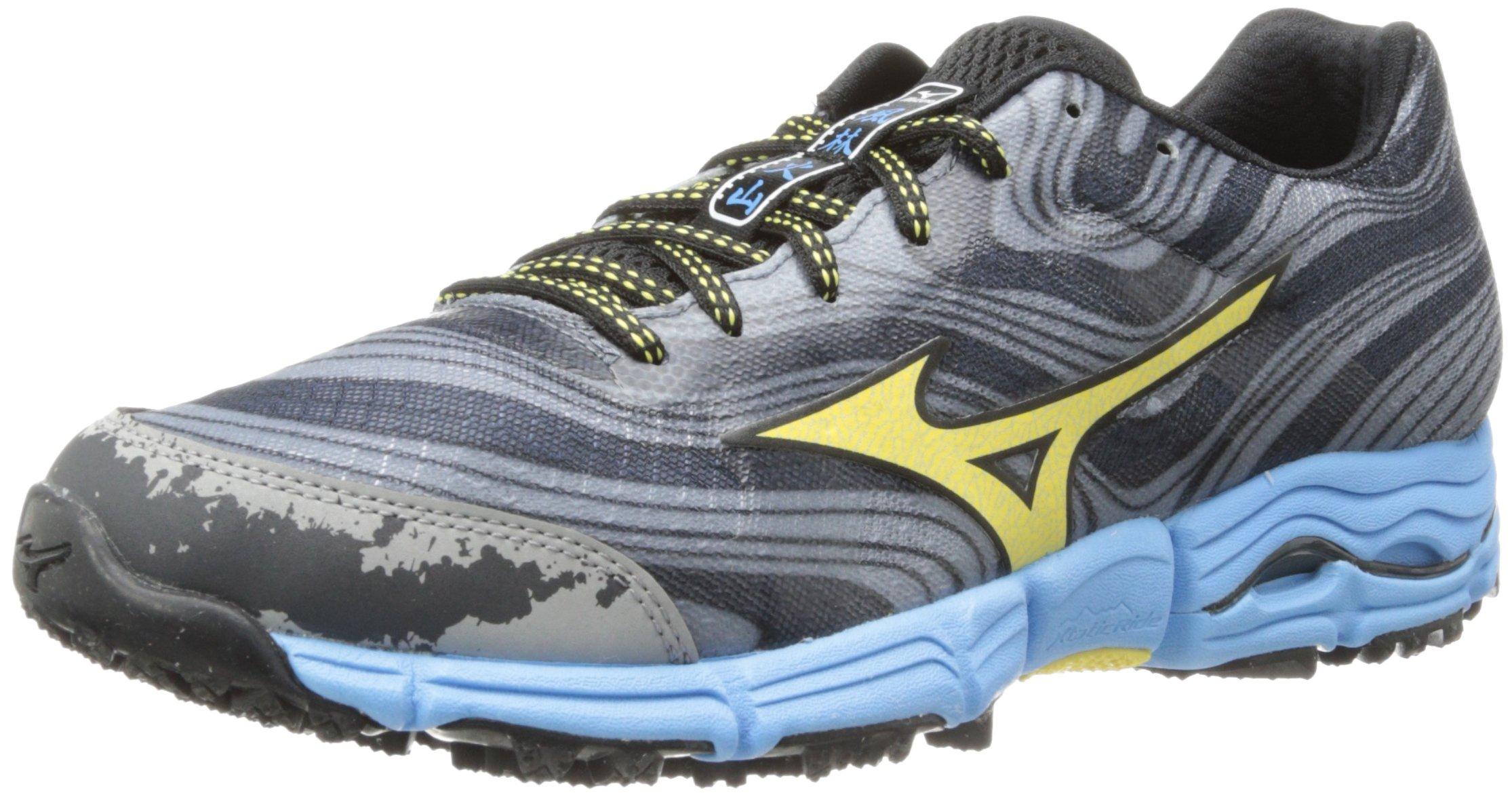 Mizuno Women's Wave Kazan Trail Running Shoe,Gunmetal/Yellow Cream,7.5 B US