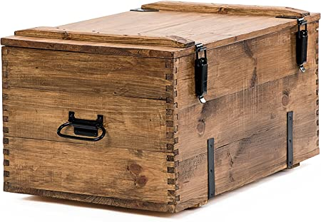 Propio diseño Cottage Retro Vintage rústico de madera de pino en el pecho Trunk mesa de café manta caja madera marrón tamaño mediano 80 cm / 50 cm / 43 cm: Amazon.es: Hogar