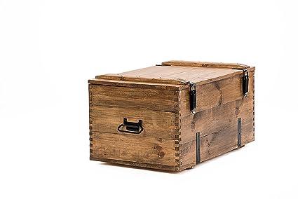 Own Design Rustico retrò Vintage Stile Rustico in Legno Pino tavolino Baule  cassapanca in Legno Medio Marrone