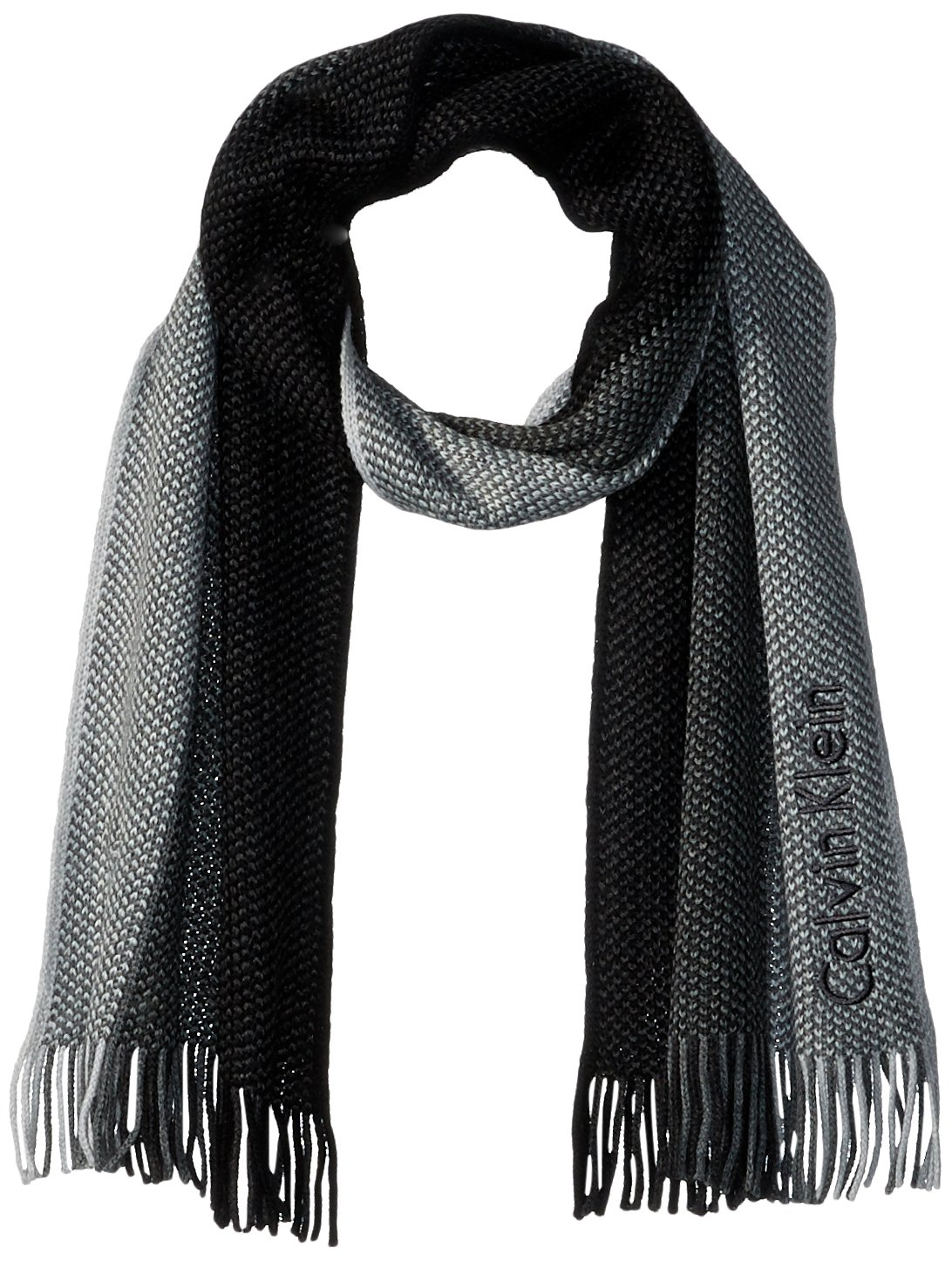 Calvin Klein Men's Striped Scarf, Onyx One Size