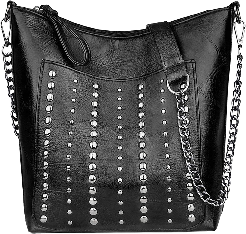Women Chains Bucket Shoulder Bag Ladies Casual Rivet Messenger Bags