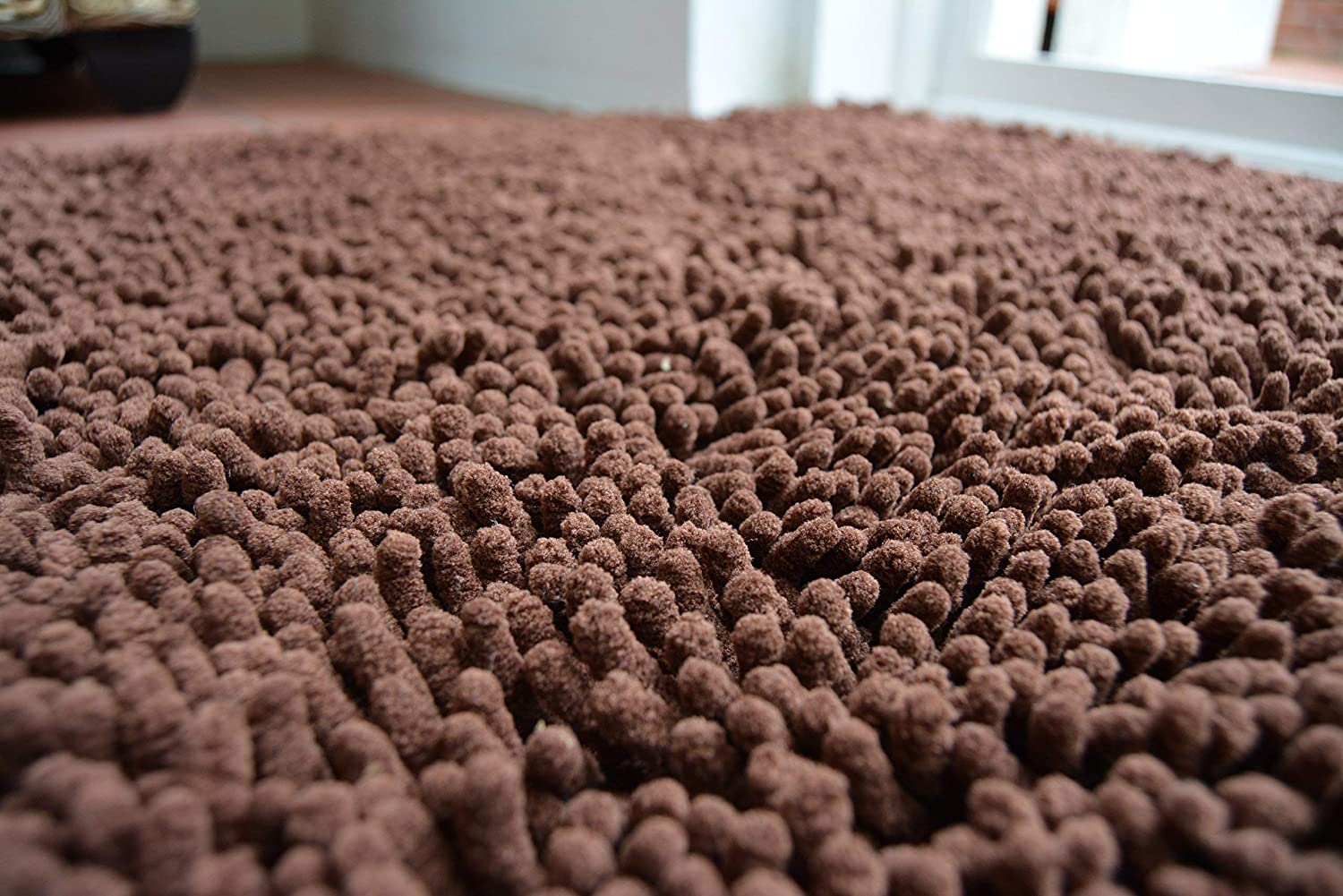 Super-Absorbent Tumble Dryer Able Chocolate//Brown Ultra-Soft Non-Slip Machine Washable EXTRA LARGE Easy Noodle Mat for Muddy Paws