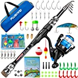 PLUSINNO Kids Fishing Pole, Portable Telescopic Fishing Rod and Reel Combo Kit - with Spinning Fishing Reel Tackle Box for Bo