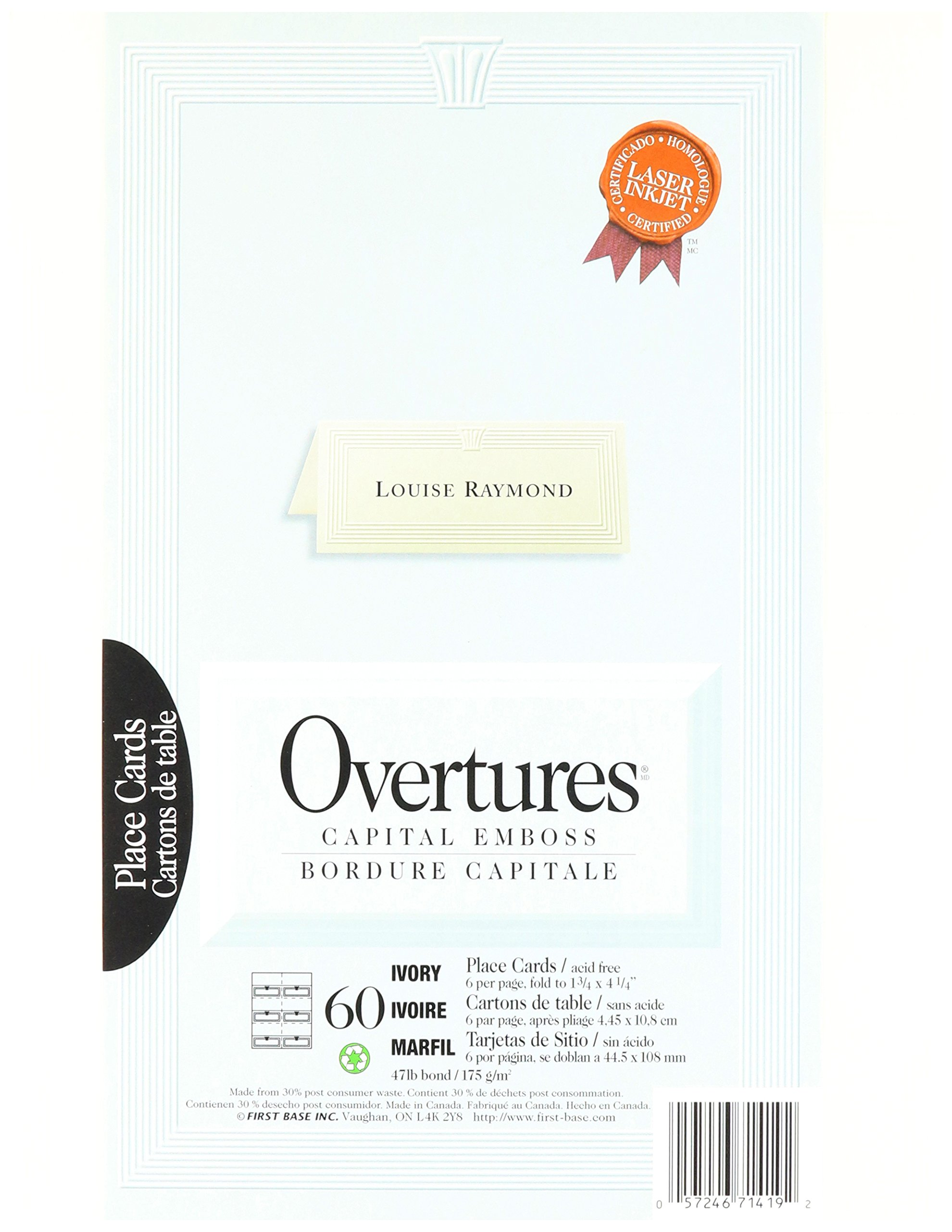 St. James Overtures Capital Emboss Ivory Place Cards, 60 Pack (71419)