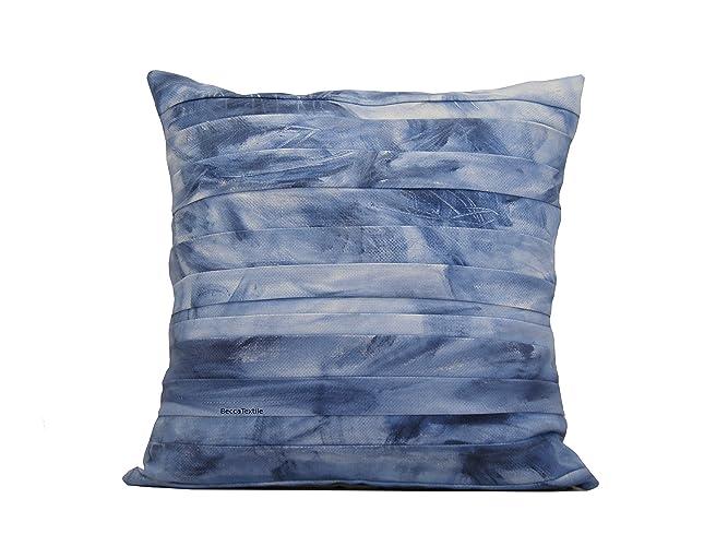 Cojín azul de bandas pintadas, funda de cojín de 45 x 45 cm ...