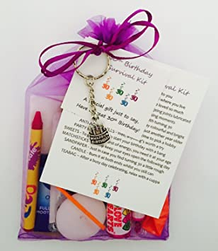 30th Birthday Survival Gift Kit Fun Happy Birthday Gift Present For