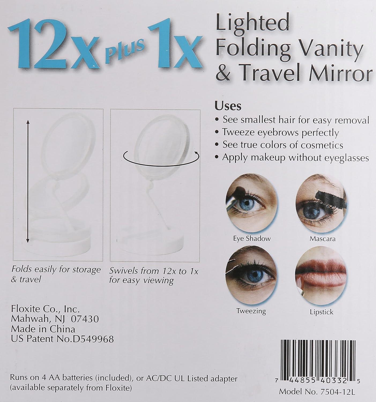 Floxite 7504 12l 12x Led Lighted Folding Vanity And Travel