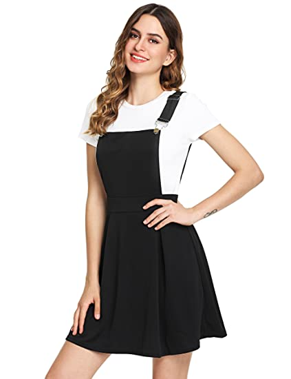 a6f22884cd Romwe Women s Cute A Line Adjustable Straps Pleated Mini Overall Pinafore  Dress at Amazon Women s Clothing store