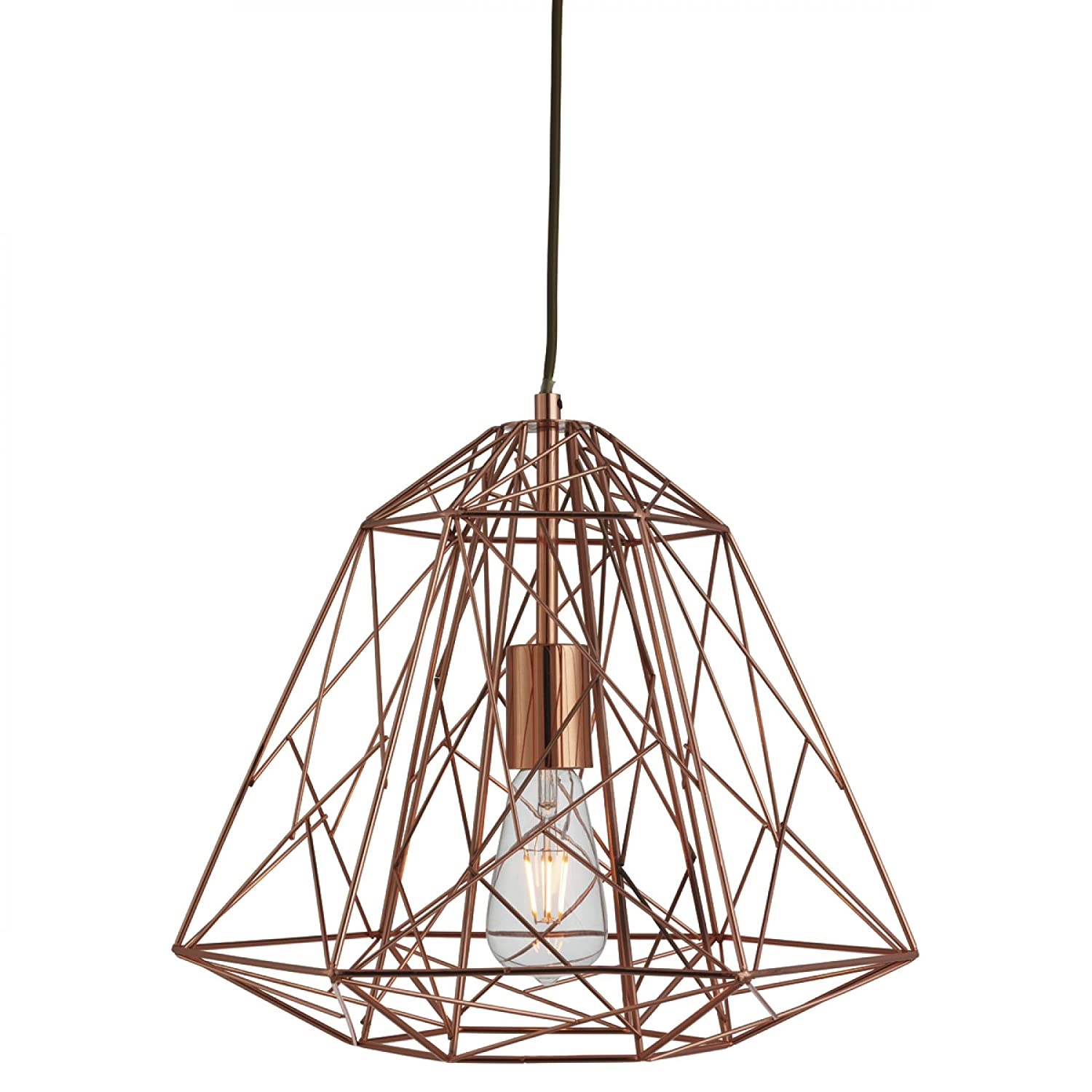 Searchlight Geometric Cage Single Ceiling Pendant Light Copper 7271CU Amazoncouk Lighting