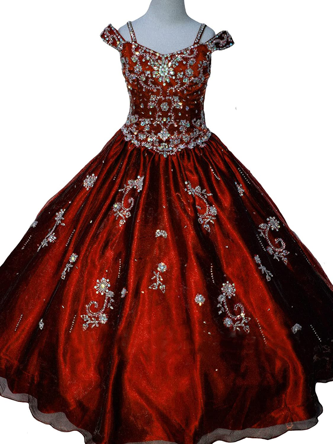 Amazon.com: Leho Girls\' Princess Beading Ball Gowns Pageant Dresses ...