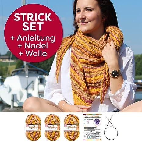 myboshi Strick-Set Aurora Dreieck-Tuch-Strick-Set Rott/öne Wolle mit passenden Stricknadeln Anleitung